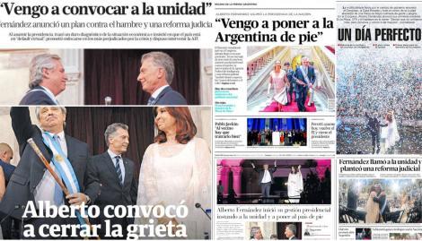 La asunción de Alberto Fernández copó las tapas de los diarios argentinos
