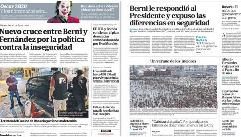 El cruce entre Sergio Berni y Alberto Fernández por la política de seguridad, en las tapas de los diarios argentinos