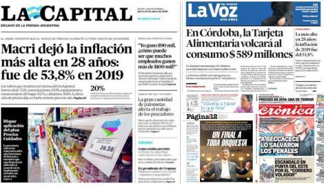 La inflación de 53,8% de 2019, en las tapas de los diarios argentinos