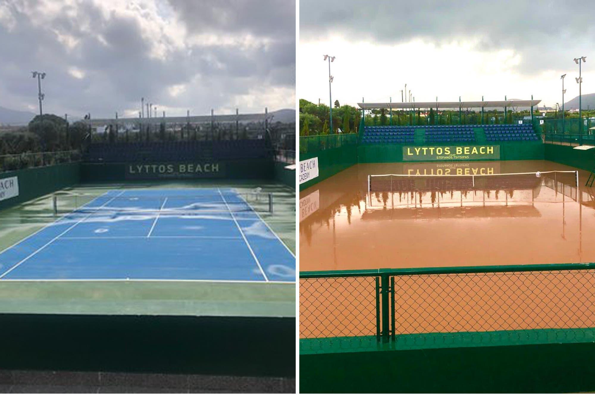 Tenis bajo el agua en Creta: fuertes lluvias, daños y un torneo con argentinos que estuvo cerca de cancelarse
